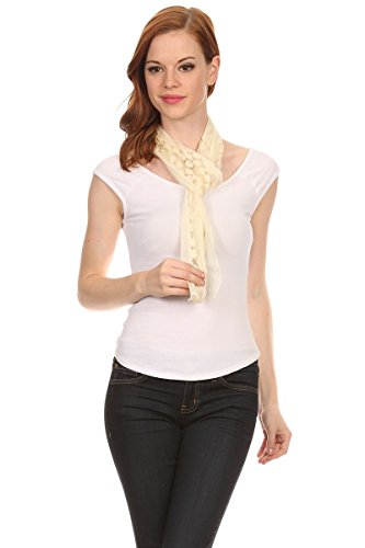 LL Ladies Romantic Daisy Ivory Embroidered Thin Lace Scarf Crochet Spring