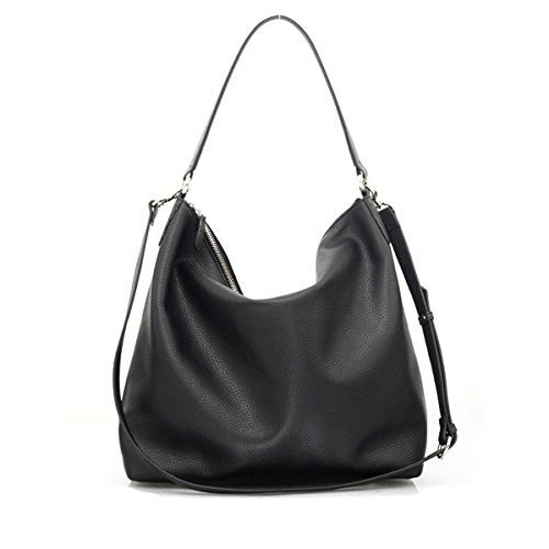 NELA - Black Leather Hobo Bag (Large) by MISHKAbags