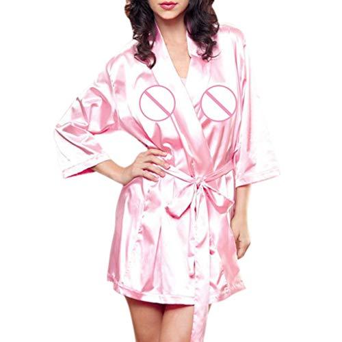 Women Satin Nightdress Silk Plus Size Lingerie Nightgown Sleepwear Sexy Robe -
