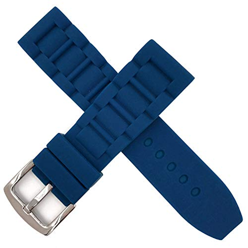 24mm Sky Blue Waterproof Silicone Wristwatch Strap Universal Rubber Watch Band Heavy Stainless Steel Buckle