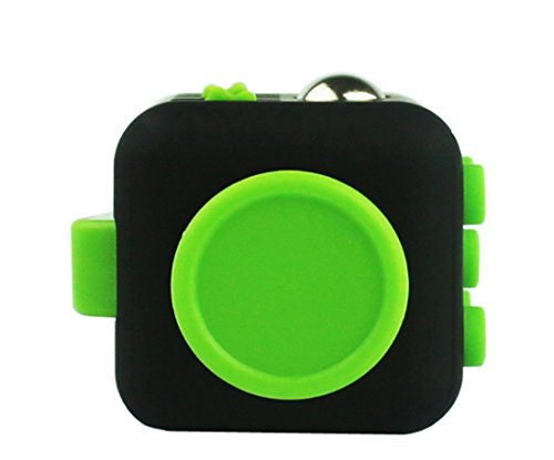 Fun Cube Relieves Stress And Anxiety Fidget Toy for Children and Adults (Black/Green) -