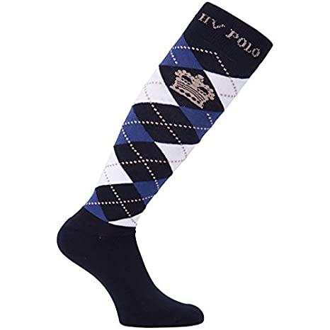 HV Polo calcetines hasta la rodilla calcetines de rombos en colour azul marino, azul tinta