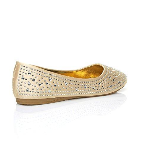 Satin oro Ballerine Easy donna ShuWish Champagne UK qBFW1