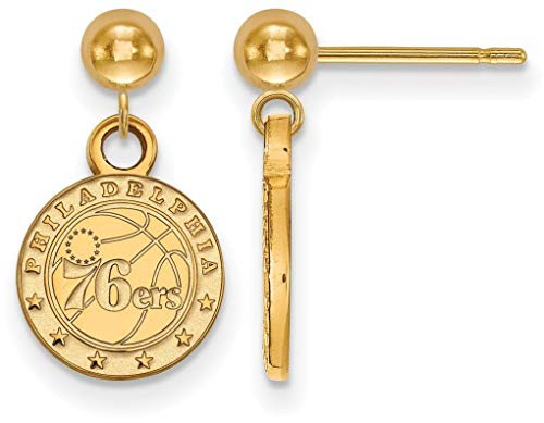 Gold-Plated Sterling Silver NBA Philadelphia 76ers Earrings Dangle Ball LogoArt ()