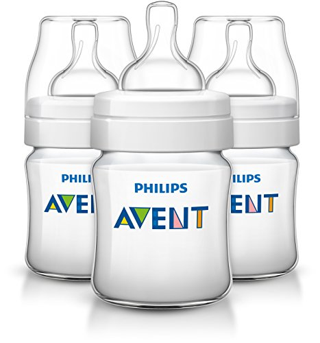 (Philips Avent Anti-colic  Baby Bottles Clear, 4 Ounce (3)
