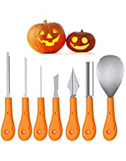 Kekilo Halloween Pumpkin Carving Kit, Pumpkin Carving Tools Stainless Steel 7 Piece Set for Kids and Adults (with Carrying Bag) (A Version)