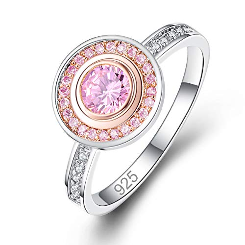 (Narica Women's 925 Sterling Silver Filled Round Cut Pink Topaz Promise Proposal Engagement Wedding Rings Size 7)