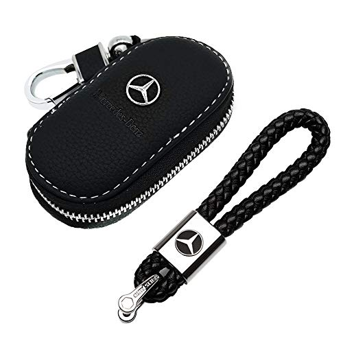 VILLSION 2Pack Genuine Leather Car Logo Keychain Key Chain and Leather Car Key Case Holder for Mercedes Benz Gift