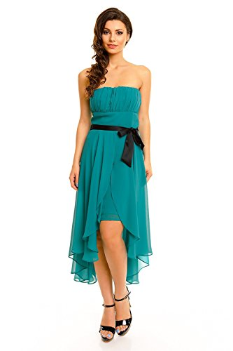 Chiffon Kleid in angesagtem Vokuhila Stil - oben in eng anliegender, taillierter Form - Dekolleté vorne gerafft - herrlichem Polyester Chiffon - HHS347, Größe:42;Farbe:grün