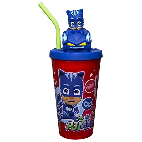 Zak Designs 15oz PJ Masks Funtastic Tumbler With Straw And Unique 3D Character On Lid - Sculpted Design Stands Out, Screw-on Lid With Durable Straw Keeps Liquids In, PJ Masks F