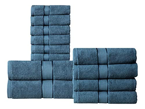 Wicker Park 600 GSM Ultra Soft 100% Cotton 12 Piece Towel Set (Navy Blue): 2 Bath Towels, 4 Hand Towels, 6 Washcloths, Long-Staple Cotton, Spa Hotel Quality, Super Absorbent, Machine Washable