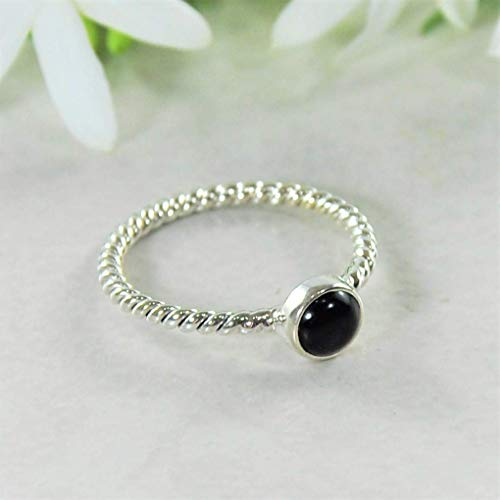 (Sivalya NOVA Natural Black Onyx Gemstone Ring in 925 Sterling Silver - Twisted Rope Pattern Solid Silver Band Ring for Women - Size 7)