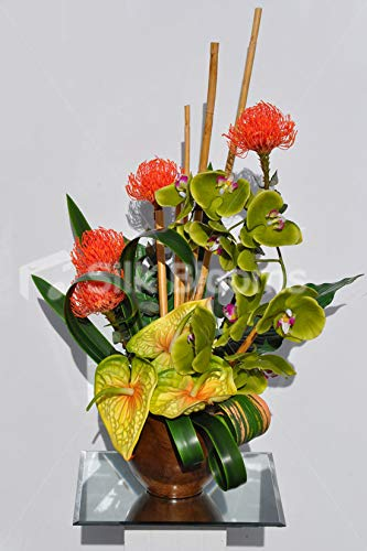 Silk-Blooms-Ltd-Artificial-Bright-Orange-Protea-and-Green-Orchid-Floral-Arrangement-wAnthriums-and-Wood