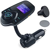 Bluetooth FM Transmitter, Wireless In-Car FM Transmitter MP3 Player Radio Adapter AUX Input Car Kit with USB Car Charger 1.44 Inch Display TF Card Slot (Black)