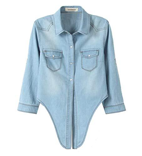 Corto Style Fashion Jacket Plus Jeans Outerwear Autunno Lunga Festa Nodo Vintage Al Eleganti Prodotto Cappotto Primaverile 1 Ragazze Bavero Allentato Manica Donna Giacche Hellblau Denim 8qqdxw1ZP