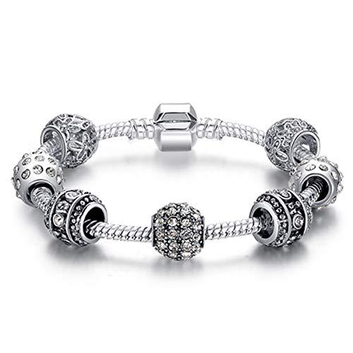 Original Silver 925 Crystal Four Leaf Clover Bracelet with Clear Murano Glass Beads Charm Bracelet Bangle for Women DIY Jewelry PS3005 21cm - Murano Glass Bead Rosary Bracelet