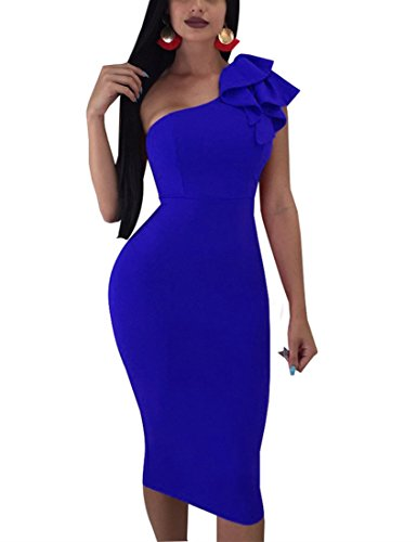 Mokoru Women's Sexy Ruffle One Shoulder Sleeveless Bodycon Party Club Midi Dress, Large, Royal Blue