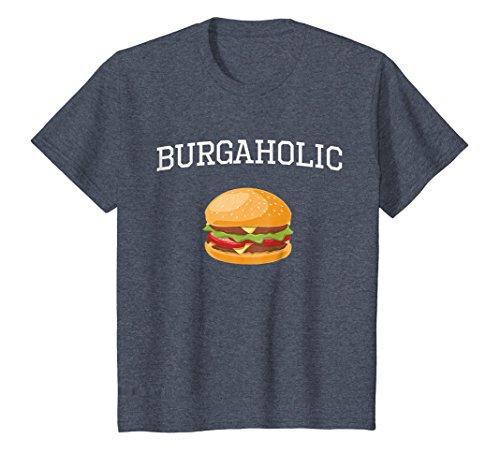 Kids Burgerholic Junk Food Addict T-Shirt 12 Heather Blue