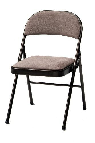 Meco 4 Pack Deluxe Fabric Padded Folding Chair Cinnabar Frame And