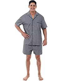 Mens Cotton Pajamas, Short Button-Down Woven Pj Set