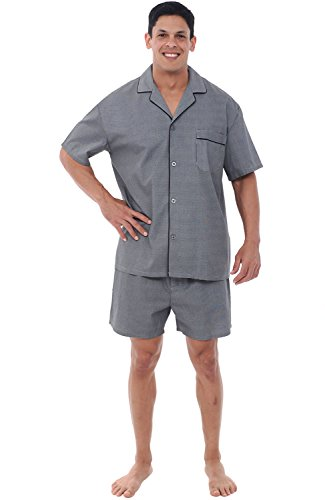 Alexander Del Rossa Mens Woven Cotton Pajama Set, Button-Down Shorts Pjs, Small Grey Houndstooth Check (A0697R60SM)