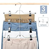 HOUSE DAY 3pcs 4 Tiers Skirt Hanger with Clips