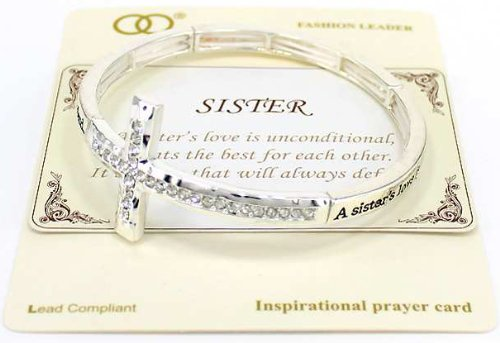 Jewelry Nexus Sisters Love Engraved Cross Stretch Bracelet Inspirational card A sisters love is unconditional