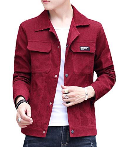 MU2M Collar Fit Jacket Men Denim Wine Corduroy Red Down Classic Slim Turn qACpxrq