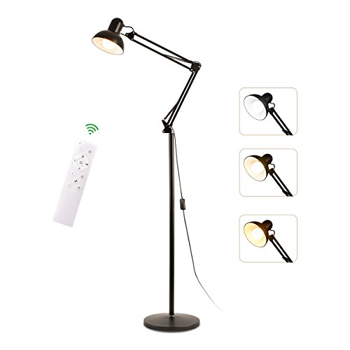 Floor Lamp Desk Light Adjustable Head Lamp Dimmable 360 Degrees Swing Arm Desk Lamp with Remote Control Uplight Heavy Metal Base for Office, Bedroom,Living Room,Family Room,Study Room,Sewing