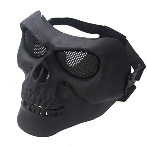 WAR WOLF Full Face Airsoft Skull Skeleton Mask Hood for Riding Outdoor Activity Paintball Game BB Gun Cs War Game Mask Fit Most Men Women ()