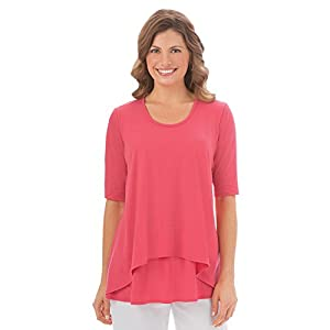 Collections Etc Women's Double Tier Short Sleeve, Elbow Length, Cotton Knit Top, Coral, Large - Made In The USA