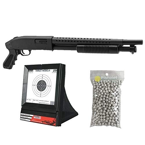 Pack complet Airsoft M500 Court/Fusil à Pompe à Ressort/métal-ABS/Rechargement Manuel (0.5 Joule)-Livré avec Accessoires 1