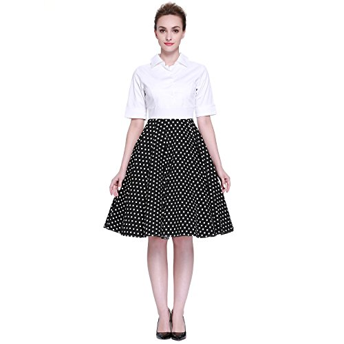 [Heroecol Women Vintage 1950s Dresses Polo Neck Short Sleeve 50s 60s Splice Style Retro Swing Cotton Dress Size XS Color Black with White Polka] (50s Costumes Jeans)