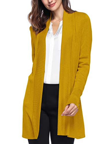 Cardigan Knit Long - Spicy Sandia Open Front Knit Cardigans for Women Lightweight Cover-up Long Sleeve Cardigan Sweaters, Mustard, Small
