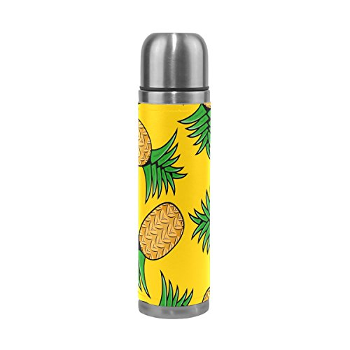JSTEL Pineapples On Yellow Stainless Steel Water Bottle Vacuum Insulated Leak Proof Double Vacuum Bottle for Hot Coffee or Cold Tea + Drink Cup Top 500ml