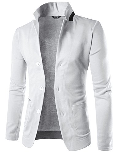 COOFANDY Mens Casual Slim Fit Blazer 3 Button Suit Sport Coat Lightweight Jacket,White,X-Large