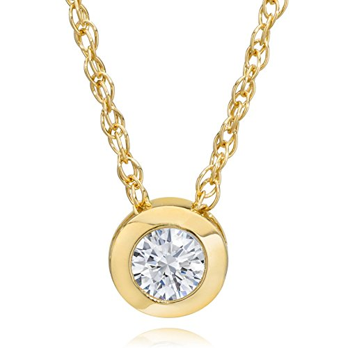 Womens Necklace Gold Diamond (14K Yellow Gold 1/4 ct Round Diamond Solitaire Bezel Pendant & 18