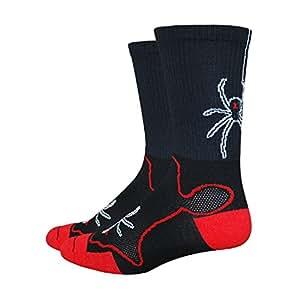 DeFeet Levitator Trail Widowmaker Socks, Medium, Black/Red