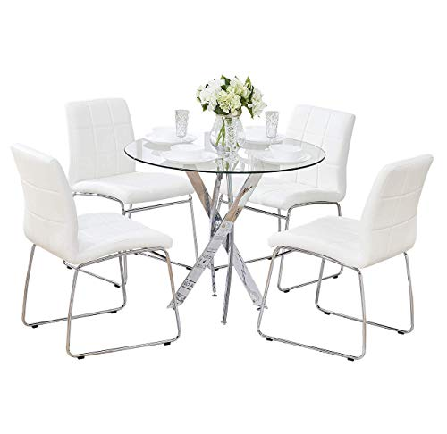 Sensational Sicotas 5 Pcs Round Dining Table Set Tempered Glass Kitchen Table And 4 Faux Leather Chairs With Chrome Legs Modern Dining Room Table Set For Kitchen Home Interior And Landscaping Ologienasavecom