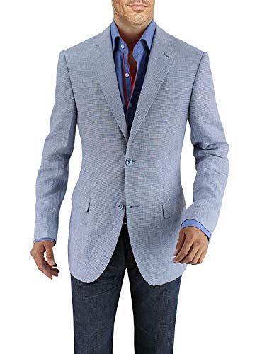 DTI BB Signature Men's Two Button Linen Blazer Modern Fit Jacket (42 Regular US / 52R EU, Sky Blue - Italy Sport Linen Coat