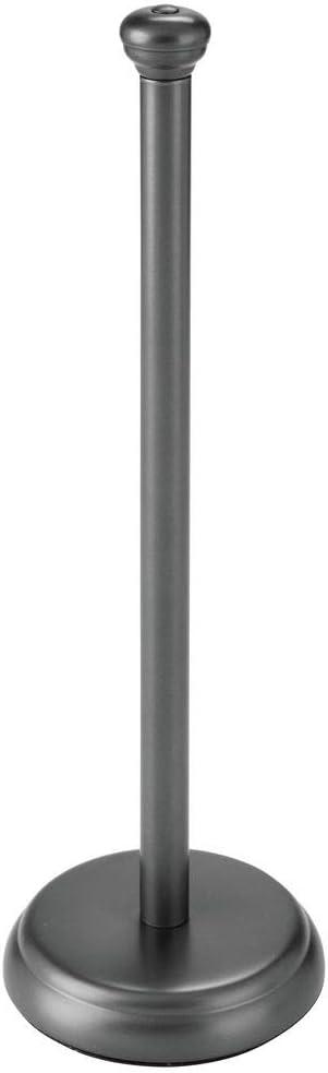 mDesign Portarrollos de pie Cl/ásico soporte para papel higi/énico para ba/ños blanco Dispensador de papel higi/énico para 3 rollos de papel de reserva