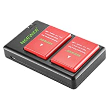 Neewer 2-pack 1050mAh Nikon EN-EL14 Replacement Li-ion Battery (Red) with USB Dual Charger for Nikon D3100 D3200 D3300 D3400 D5100 D5200 D5300 D5500 DF P7000 DSLR Camera, MB-D31 MB-D51 Battery Grips