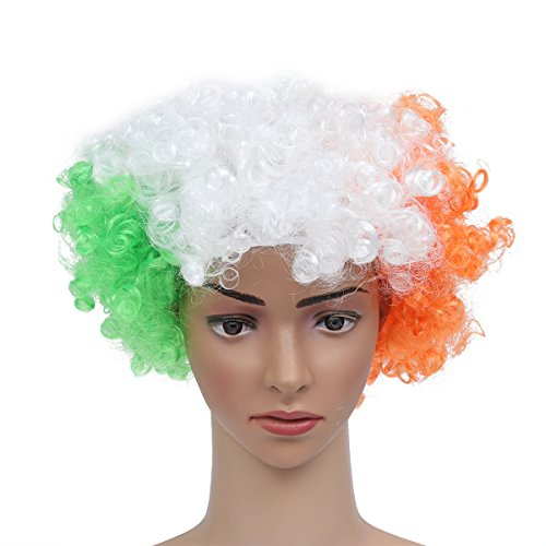 (Museya 2018 FIFA World Cup Ireland National Flag Costume Wig Adults Masquerade Clown)