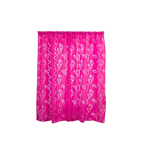 2 Panels Leaves Embroidery Sheer Curtains Fabric Look Window Drape, Semi Transparent Floral Medallion Print Semi Voile Drapes Rod Pocket Home Decorative for Bedroom (39 x 51 inch, Hot Pink) ()