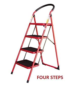 SHOPPERS STOP Household Heavy Duty Steel Ladder Red EN131 Approved, Steel Folding Portable Wide Step Ladder with GRIPPED Tread Anti-Slip Steps (Step 4)
