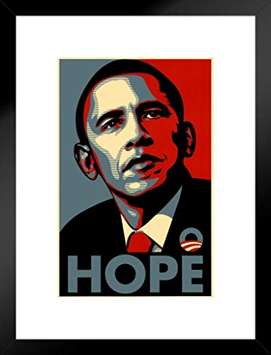 Poster Foundry Barack Obama Hope Political Campaign Art Matted Framed Wall Art Print 20x26 inch ()
