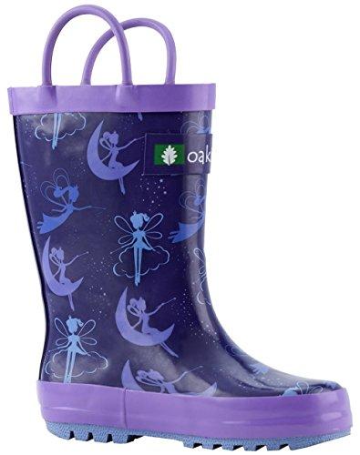 (OAKI Kids Rubber Rain Boots with Easy-On Handles, Fairy Dust, 1Y US Little Kid)