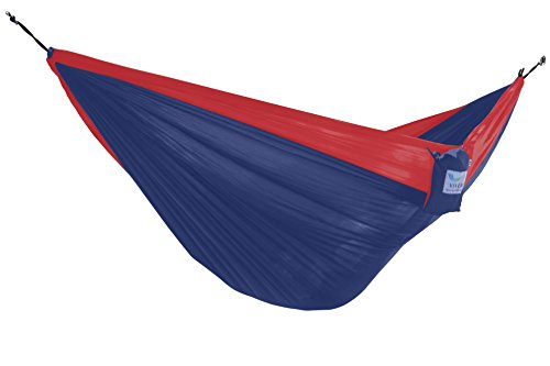 Vivere Parachute Nylon Double Hammock, Navy/Red (With Steel Double Fabric Stand Hammock Vivere)