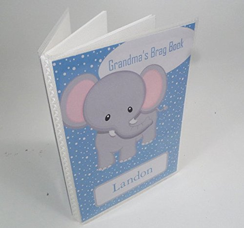 Baby Boy Photo Album. 139. 4x6 or 5x7 .Personalized baby shower gift, photo Book.Grandma's Brag Book. Blue Elephant