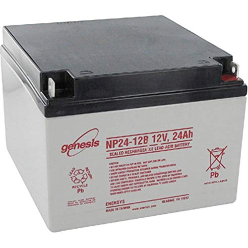 - Battery; Rechargeable; Rectangular; Lead Acid; 12VDC; 24Ah; Bolt Fastened